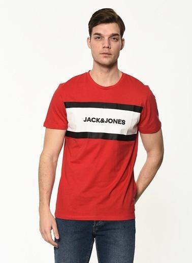 Jack & Jones Jack&Jones Erkek Baskılı Tişört 12183443 Kırmızı